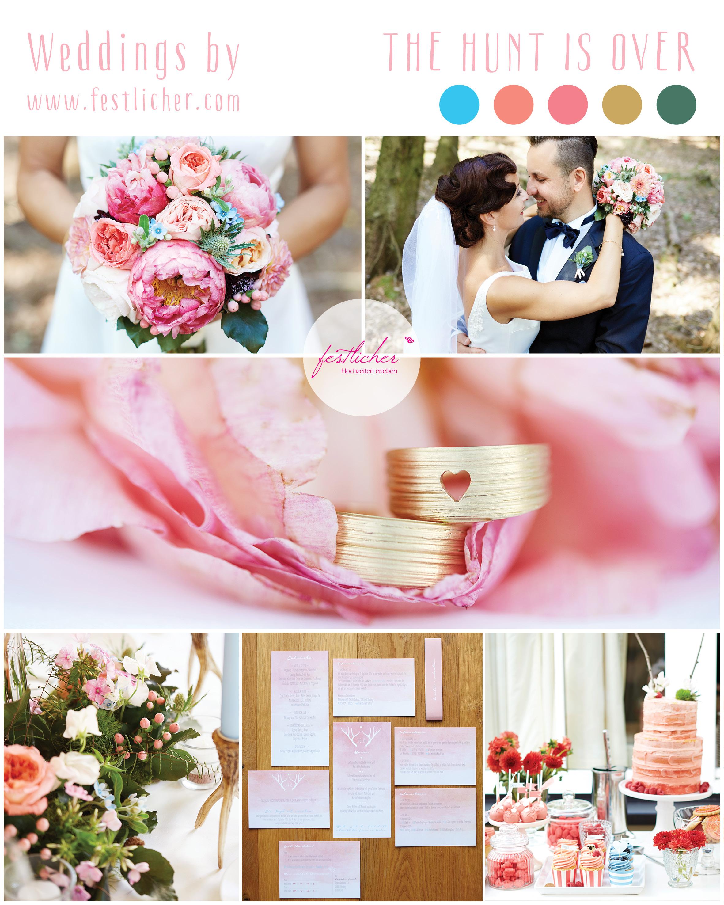 Hochzeit Koralle Hellblau wald harz