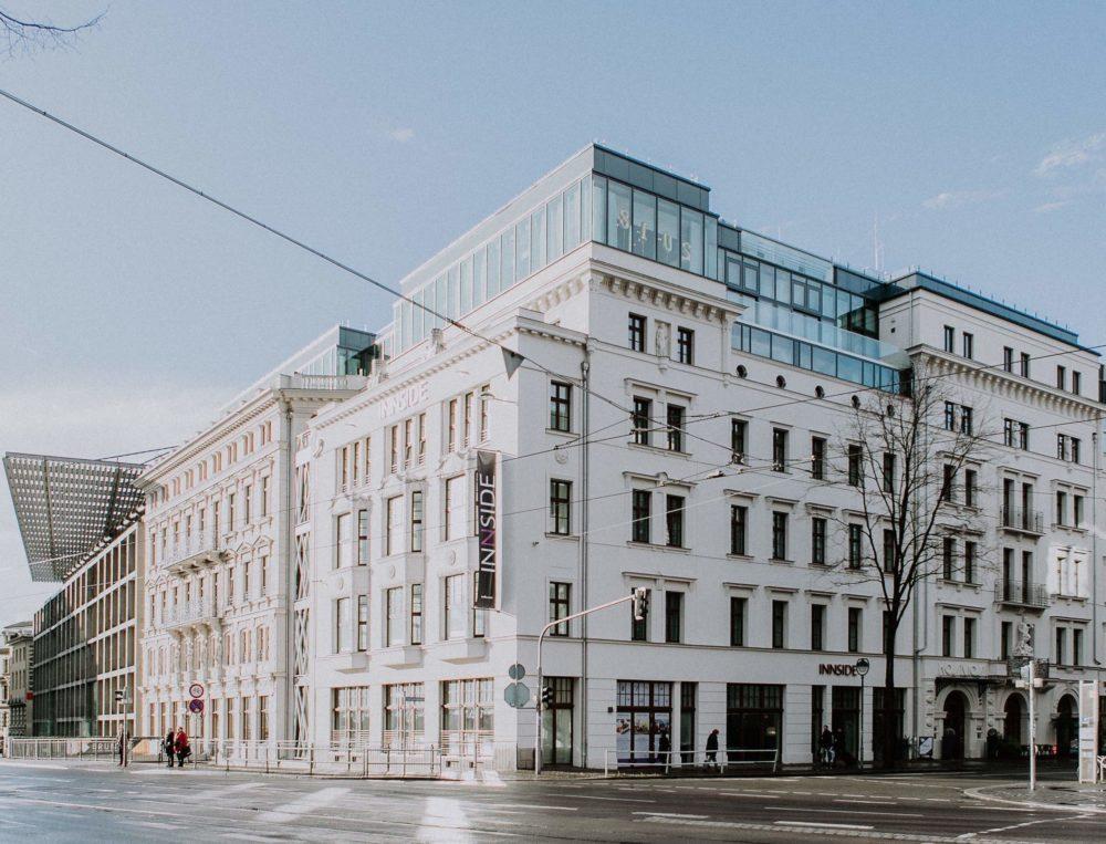 Außenansicht des Innside Melia Hotels Leipzig