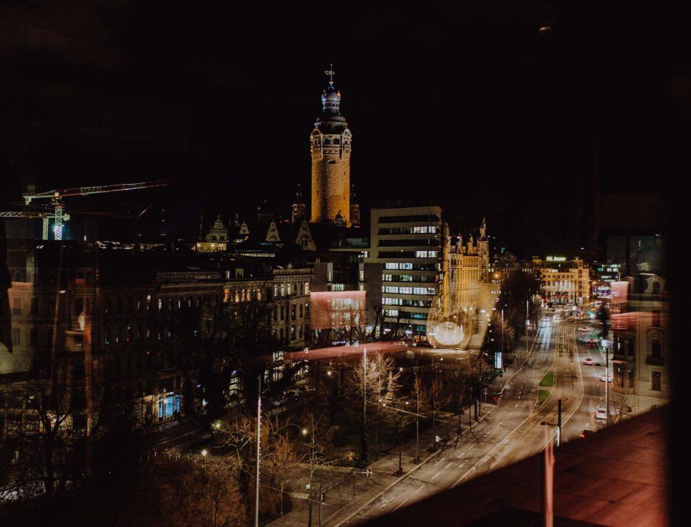 Blick auf die Stadt Leipzig vom Innside Melia Leipzig